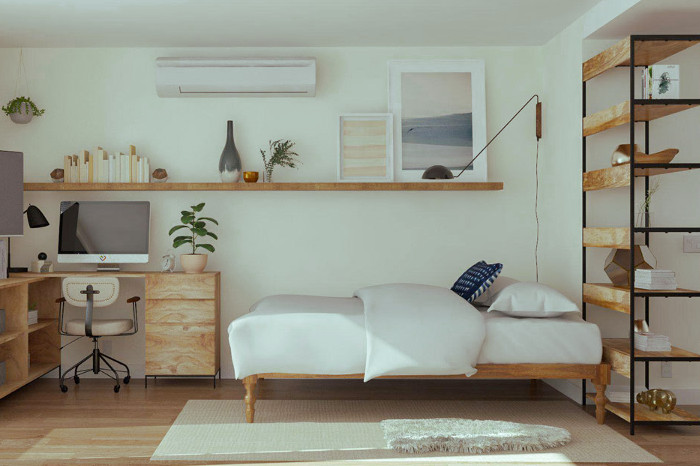 Habitación organizada de un piso pequeño