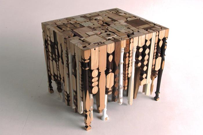 Mueble hecho con cosas reutilizadas para evitar tirar basura